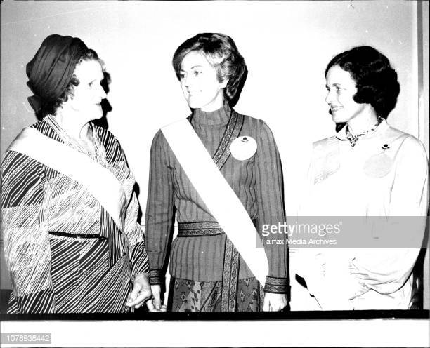 CWA Annual Conference at the Sydney Town Hall L to R Mrs Amelia Davies Mrs Marion Palmer also Country Women of the Year and Mrs John Robson May 5 1976