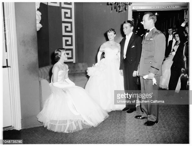 Annual Coronet Debutante Ball held in Crystal Room of Beverly Hills Hotel 24 November 1951 Marlene Annette MaloufDiane Dale CoplenNancy Harvey...