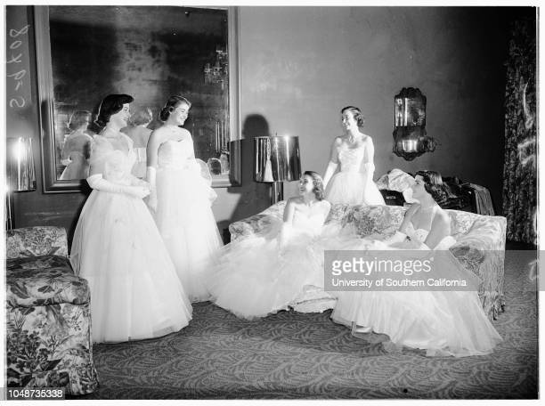 Annual Coronet Debutante Ball held in Crystal Room of Beverly Hills Hotel 24 November 1951 Marlene Annette MaloufDiane Dale CoplenNancy Harvey...