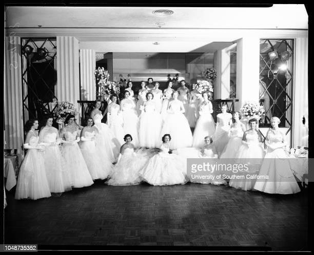 Annual Coronet Debutante Ball held in Crystal Room of Beverly Hills Hotel, 24 November 1951. Marlene Annette Malouf;Diane Dale Coplen;Nancy Harvey...
