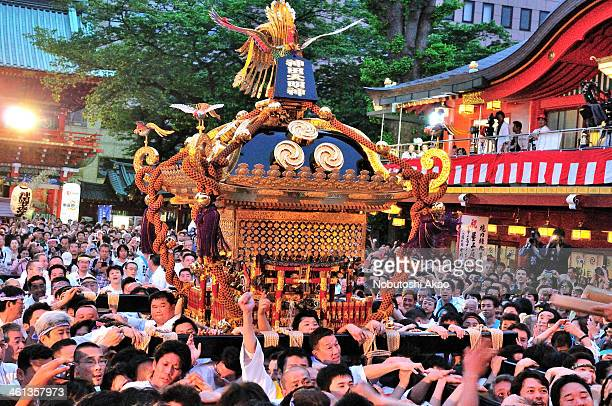 CONTENT] Annual festival of Kanda Myojin Shrine with people carrying a sacred portable shrine The portable shrine arrived at Kanda Myojin the Shrine...