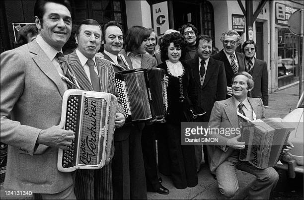 Annual friendship lunch of accordionists at the restaurant 'La Cloche d'Or' In Paris France On February 07 1977 Andre Verchuren Aimable Serge Lama...