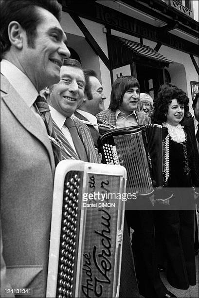 Annual friendship lunch of accordionists at the restaurant La Cloche d'Or In Paris France On February 07 1977 Andre Verchuren Aimable Serge Lama...