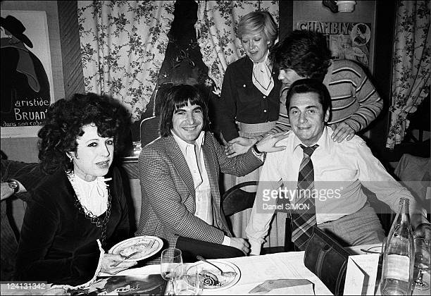 Annual friendship lunch of accordionists at the restaurant 'La Cloche d'Or' In Paris France On February 07 1977 Yvette Horner Serge Lama Andre...