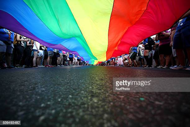 Annual Gay Pride parade in central Athens Greece organized by LGBT activists on June 11 2016