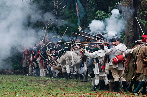 annual historic revolutionary germantown festival, northwest philadelphia, pa - revolutionary war reenactment stock pictures, royalty-free photos & images