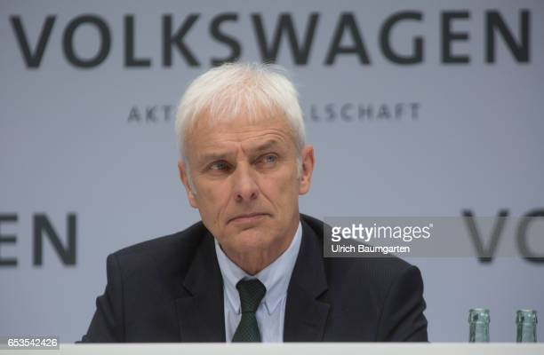 Annual Media Conference of Volkswagen AG in Wolfsburg Matthias Mueller CEO of Volkswagen AG during the press conference In the background lettering...