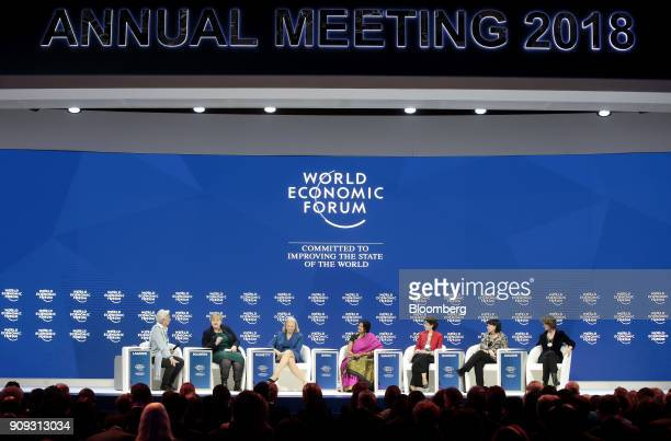 Annual meeting cochairs Christine Lagarde managing director of the International Monetary Fund from left Erna Solberg Norway's prime minister Ginni...