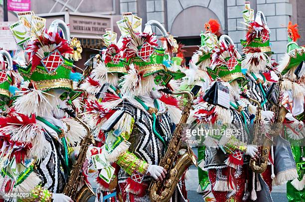 annual philadelphia mummers parade in front of merriam theater - mummers parade stock photos and pictures