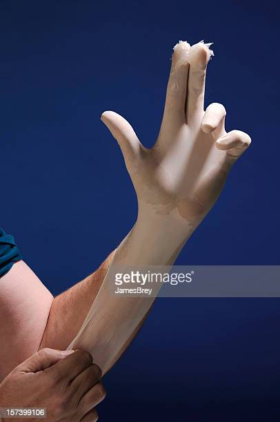 Annual Physical Exam; Latex Glove Hand, Two Fingers Lubricant Gel