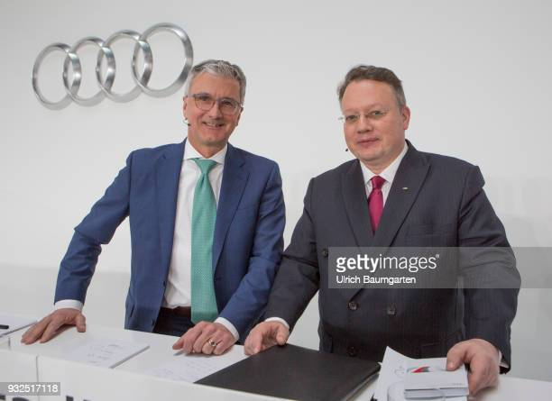 Annual Press Conference of AUDI AG in Ingolstadt Rupert Stadler CEO of Audi AG and CFO Alexander Seitz during the press conference