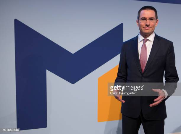 Annual Press Conference of Metro AG. Christian Baier, Chief Financel Officer of Metro AG, before the start of the press conference with the logo of...
