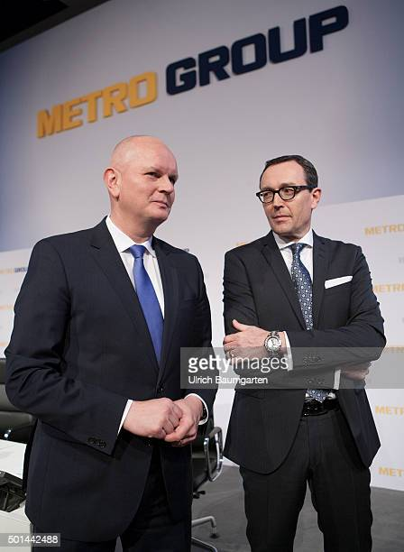 Annual Press Conference of Metro AG Olaf Koch Chief Executive Officer of the Metro AG and Chief Financel Officer Mark Frese In the background the...