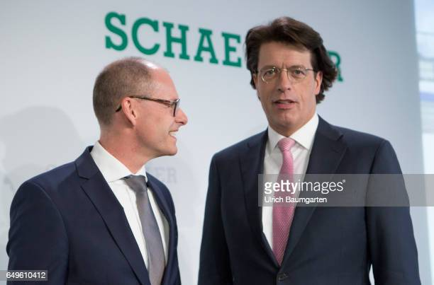 Annual Press Conference of Schaeffler AG in Frankfurt. Klaus Rosenfeld, CEO of Schaeffler AG and CFO Dr. Ulrich Hauck, before the start of the press...