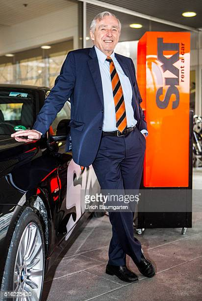 Annual Press Conference of Sixt SE in Munich Erich Sixt Chief Executive Officer of Sixt SE in front of a Sixt advertising pillar