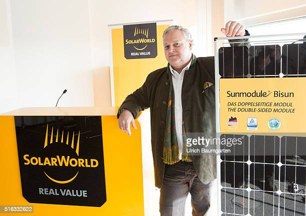 Annual Press Conference of SolarWorld AG in Bonn. Frank Asbeck, Chief Executive Officer of SolarWorld AG, at the double-sided storing module Bisun.