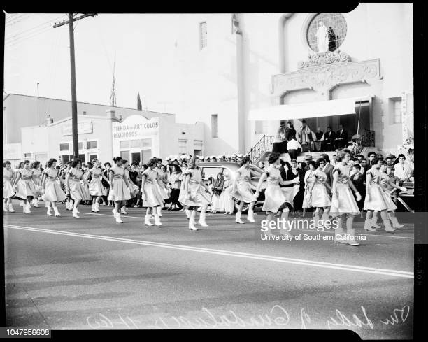 Annual procession in honor of Our Lady of Guadelupe 11 December 1960 General views of floats and Majorette as they pass La Nuestra Senora de la...