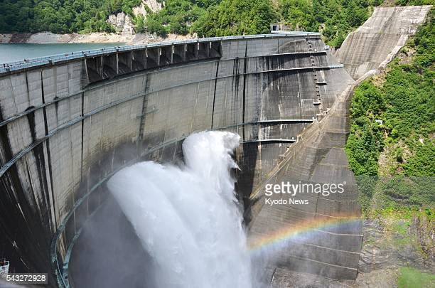 Annual water discharge begins at Kurobe Dam in the town of Tateyama Toyama Prefecture on June 26 2016 Japan's tallest archstyle dam at 186 meters in...