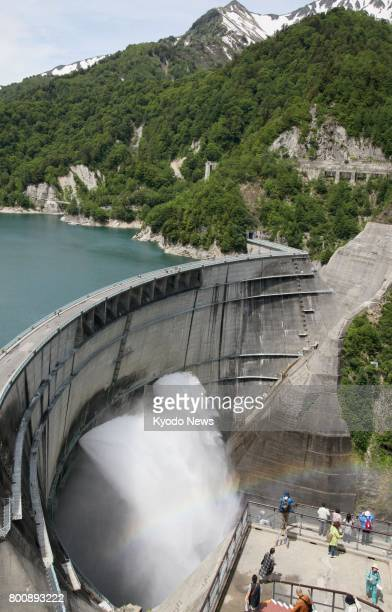 Annual water discharge begins at Kurobe Dam in the town of Tateyama Toyama Prefecture on June 26 2017 Japan's tallest archstyle dam at 186 meters in...