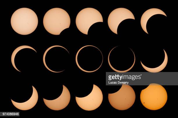 annular solar eclipse collage - annular solar eclipse stock pictures, royalty-free photos & images