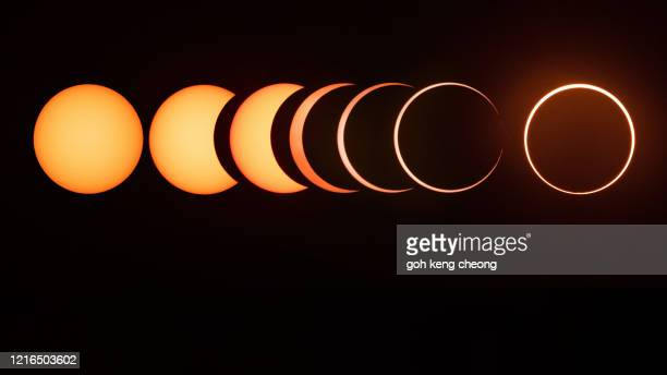 annular solar eclipse sequence - eclipse stock pictures, royalty-free photos & images