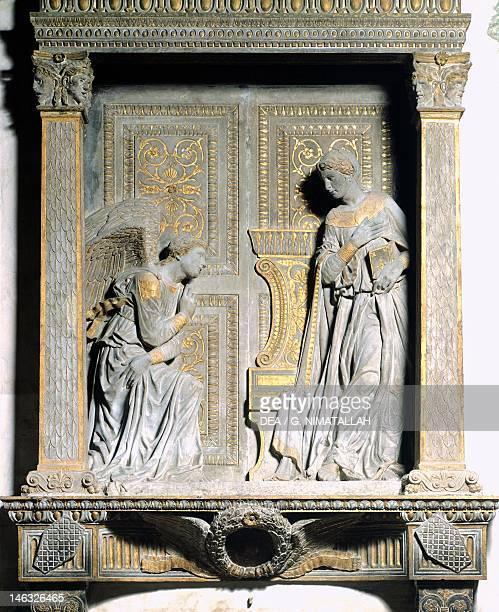 Annunciation, by Donatello . Basilica di Santa Croce in Florence , Tuscany.