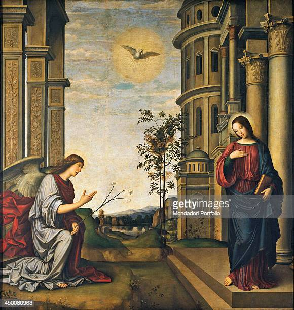 Annunciation by Francesco Raibolini known as il Francia 16th Century tempera and oil on board carried on canvas 237 x 227 cm