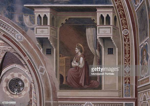 'Annunciation by Giotto 13031305 14th Century fresco Italy Veneto Padua Scrovegni Chapel After restoration picture Detail Saint Mary her arms crossed...