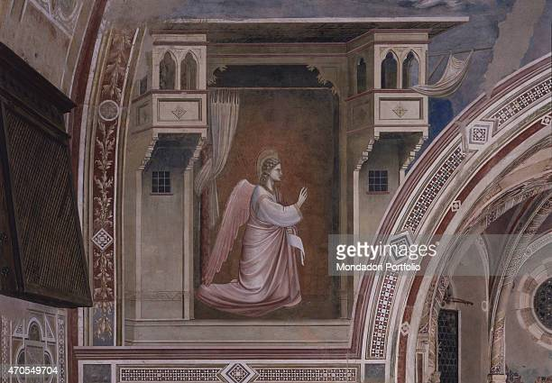 'Annunciation by Giotto 13031305 14th Century fresco Italy Veneto Padua Scrovegni Chapel After restoration picture Detail The archangel Gabriel...