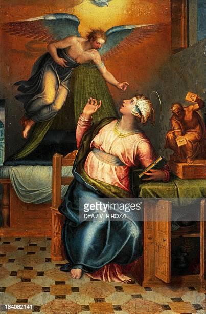 Annunciation by Marcello Venusti painting on wood 45x30 cm Rome Galleria Nazionale D'Arte Antica Di Palazzo Corsini