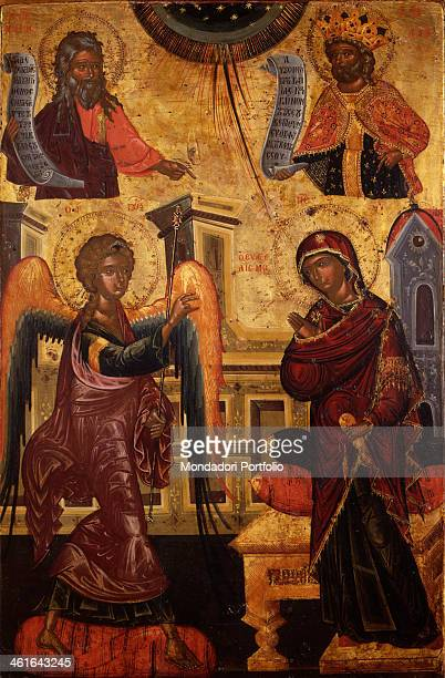 Annunciation by Onufri Qiprioti begin of the 17th Century tempera on wood Albania Berat Onufri Museum Whole artwork view The angel brought God...