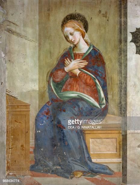 Annunciation detail from the fresco by Bernardino d'Antonio del Signoraccio Church of San Francesco Pistoia Italy