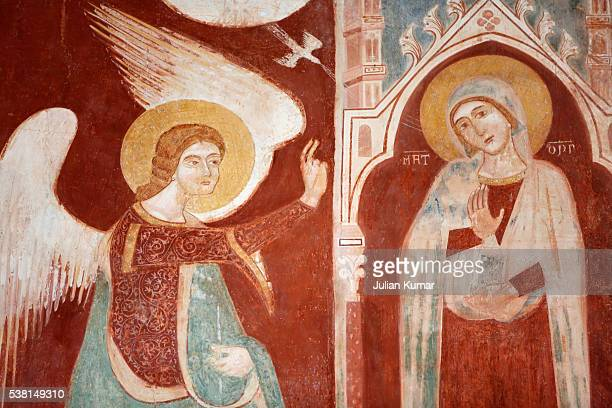 annunciation fresco by rinaldo da taranto in santa maria del casale church (14th century) - annunciation stock pictures, royalty-free photos & images