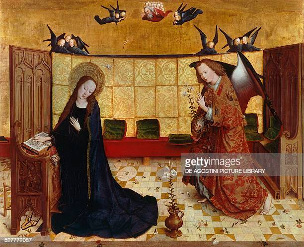 Annunciation from Life of the Virgin by Master of the life of the Virgin Germany 15th century Monaco Alte Pinakothek
