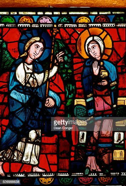 Annunciation From the Life of Christ Lancet Window at Chartres Cathedral
