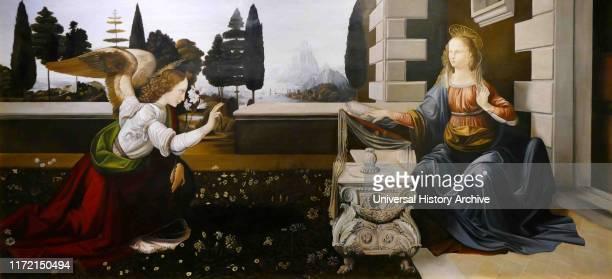 Annunciation, painted by the Italian Renaissance artists Leonardo da Vinci and Andrea del Verrocchio, dating from circa 1472-1475. The subject matter...