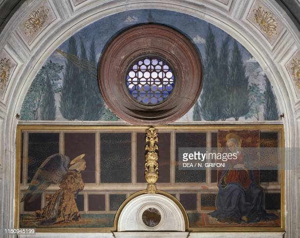 Annunciation, painting by Alesso Baldovinetti , Cardinal of Portugal Chapel, basilica of San Miniato al Monte , Florence , Tuscany, Italy, 15th...