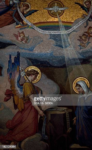 Annunciation to Mary interior mosaic in the Basilica of our Lady of the Rosary France
