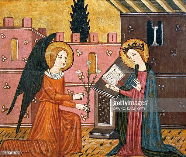 Annunciation workshop of Seo D'Urgell 14th century altarpiece from Bellver de Cerdanya painting on wood Catalan Gothic art Vic Museu Episcopal