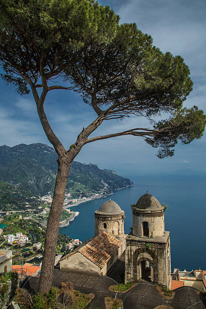 Annunziata Church of Ravello, view from Villa Rufolo, looking over Atrani and the Amalfi Coast, Campania, Italy