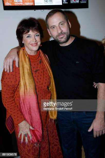 Anny Duperey and Fred Testot pose after Fred Testot performed in his One Man Show Presque Seul at Theatre de la Tour Eiffel on December 13 2017 in...