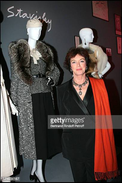 Anny Duperey next to the dresses of the movie Stavisky Yves Saint Laurent exhibition launch about theater cinema music hall ballet at the Pierre...