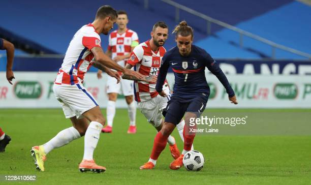 Anoine Griezmann of France in action during the UEFA Nations League group stage match between France and Croatia at Stade de France on September 8...