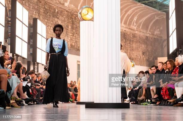 Anok Yai walks the runway during the Chloe Womenswear Spring/Summer 2020 show as part of Paris Fashion Week on September 26, 2019 in Paris, France.