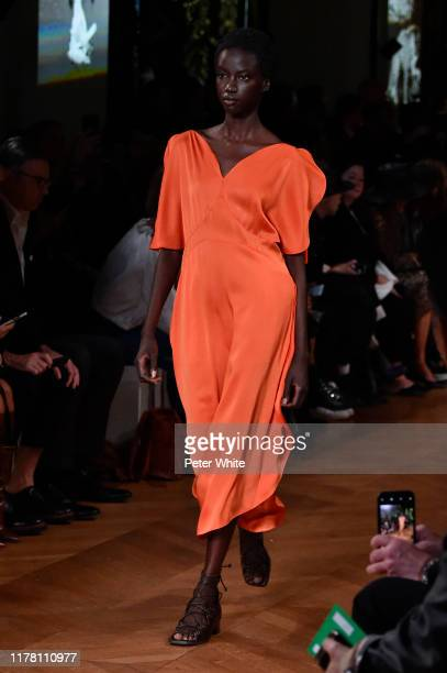 Anok Yai walks the runway during the Stella McCartney Womenswear Spring/Summer 2020 show as part of Paris Fashion Week on September 30, 2019 in...