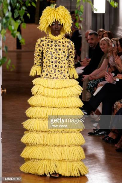 Anok Yai walks the runway during the Valentino Fall/Winter 2019 2020 show as part of Paris Fashion Week on July 03, 2019 in Paris, France.
