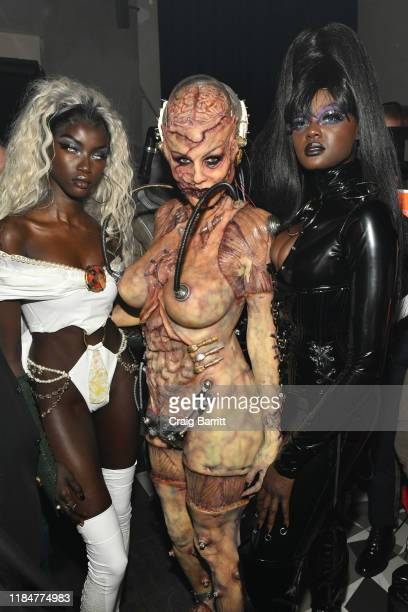 Anokyai, Heidi Klum and Duckie Thot attend Heidi Klum's 20th Annual Halloween Party presented by Amazon Prime Video and SVEDKA Vodka at Cathédrale...