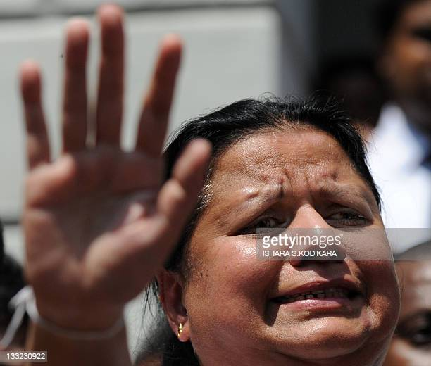Anoma Fonseka the wife of detained former Army chief General Sarath Fonseka gestures at the Colombo High Court in Colombo on November 18 2011 A Sri...