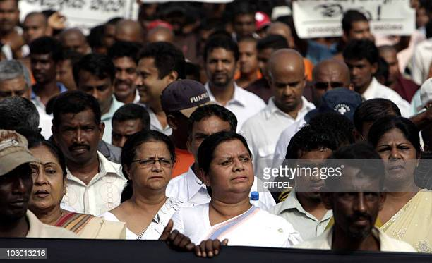 Anoma Fonseka wife of detained former Sri Lankan Army chief Sarath Fonseka and opposition Democratic National Alliance activists stage a protest in...