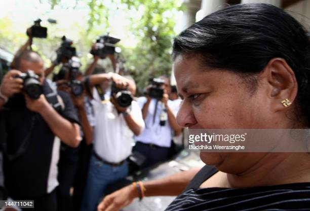 Anoma Fonseka wife of exArmy chief Sarath Fonseka leaves the court after her husband was granted bail at High Court on May 18 2012 in Colombo Sri...